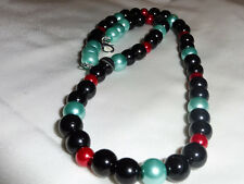 Handmade Ladies Jewellery Black, Blue, Red Glass Pearl Bead Necklace 17.5 inch