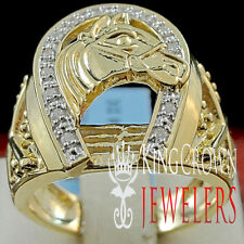 Mens Genuine Diamond Goodluck Horseshoe Lucky Pinky Ring Band 10K Gold Finish