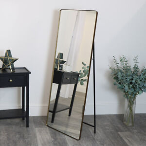 gold Free Standing Cheval Mirror tall slim thin framed brass gold home decor