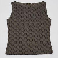 Auth Fendi Vintage Zucca Monogram Logo Sleeveless Shell Blouse Shirt 40 Brown
