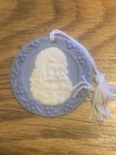 "Wedgwood Jasperware Blue Christmas Ornament ""Santa"" 1990 W/ Box"