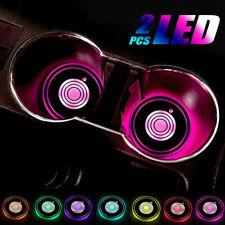2pcs 7 Color USB Cup Pad Car Accessories LED Light Cover Interior Decor Lights
