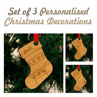 Personalised Christmas Tree Decorations Stocking Designs Family New Home