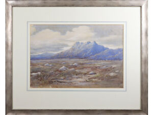 Antique / Old Painting - Moorland Landscape - original watercolour signed. 1922