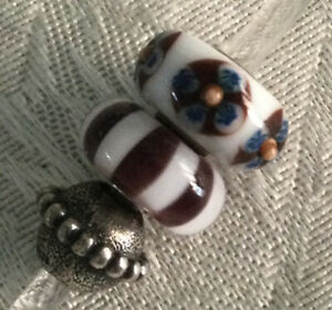 AUTHENTIC TROLLBEADS Black And White Planet Set/Lot