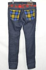 MOSCHINO Couture dark blue denim checked jeans UK 30 L34 IT 46