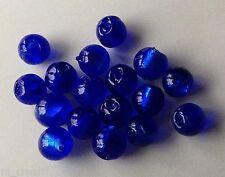 perles lampwork 8mm 10pc verre murano ronde bleu royal feuille d'argent /9