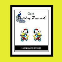 Snoopy & Woodstock Earrings Bicycle Riding