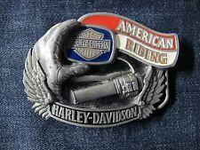 More details for harley -davidson. belt. buckle. vintage 90s. blue.red.cream.metallic. near mint