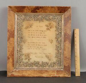 Antique 1832 American Sampler Embroidery Needlepoint & Folk Art Painted Frame