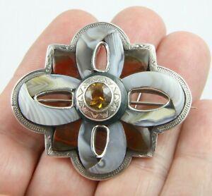 Big antique Victorian c1890 silver Scottish agate Cairngorm citrine brooch pin