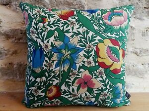 Liberty Arts Nesfield Cotton Floral Flowers & Blue Velvet Fabric Cushion Cover