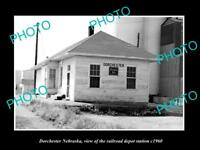 OLD LARGE HISTORIC PHOTO OF DORCHESTER NEBRASKA THE RAILROAD DEPOT STATION c1960