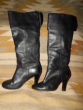 Steve Madden ~ Size 7M ~ Black ~ Leather ~  Pull On ~ No Zipper Boots