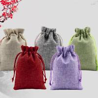 50pcs Wedding Favor Hessian Burlap Jute Gift Bags Drawstring Sack Pouch 5 Colour