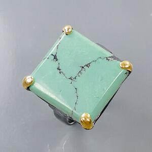 Jewelry Handmade Turquoise Ring Silver 925 Sterling  Size 7 /R170769