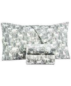 New $80 Martha Stewart Collection Forest Friends Cotton Flannel  3 Pc sheet set