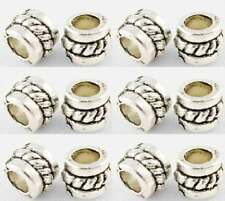 50 Tibetan Silver Spacer Beads-Rondelles corde détail-LF NF - 5 mm