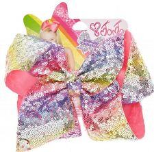 🎀JoJo Siwa RAINBOW SEQUIN PASTEL BIRTHDAY Signature Hair Bow Exclusive NEW! 🌈