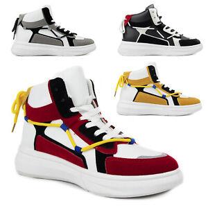 Scarpe da Uomo Alte Sneakers Bianche Nere Sportive Stivaletti in eco Pelle 42 43