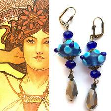 Vintage Style New Artisan EARRINGS Lamp-work Blue Glass Silver Crystal #1921