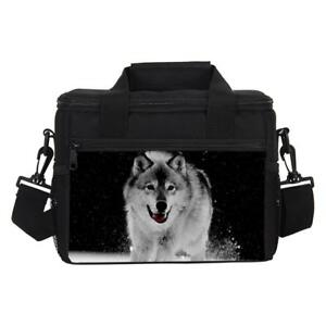Wild Wolf Print Insulated Thermal Cooler Lunch Boxes Camping School Food Bags