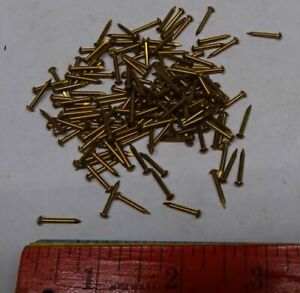 * Lot of 100 - Vintage - TINY BRASS NAILS 14g? - 1/2 inch -  Escutcheon Covers +