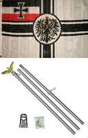 3x5 German World War 1 WWI Imperial Germany Flag Aluminum Pole Kit Set 3'x5'