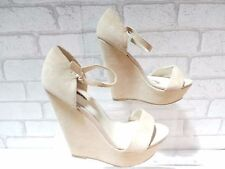 CLEARANCE Ladies ALDO Stone Suede Leather Wedge Peep Toe Shoes UK 4 EURO 37