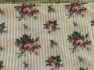 Ralph Lauren King Pillow Case Marseilles Beige Stripe Cotton Ruffle VTG One Flaw
