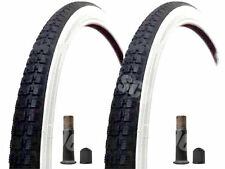 (Pair of) 20 X 1 3/8 Raleigh Record White Wall Tyres And Tubes Schrader