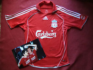 LIVERPOOL PETER BEARDSLEY SIGNED HOME MATCH SHIRT JERSEY- GB LGE BOY & PHOTO-COA