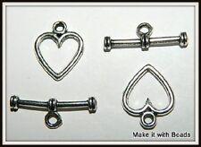 2 ensembles Coeur 12mm tibetan silver basculer fermoirs de bijoux Conclusions FREE P&P offrent