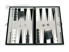 15-inch Leatherette Travel Backgammon Set - Velvet Playing Field - Classic Board