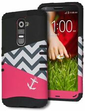 Hybrid Hot Pink & Black Chevron Anchor Case Cover for LG G2 D800