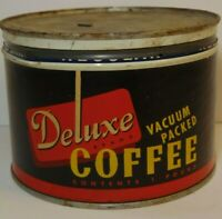 Old Vintage 1950s DELUXE COFFEE KEYWIND COFFEE TIN 1 POUND BROOKLYN NEW YORK NY