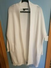 360 SWEATER White Open Front Side Pocket Cardigan heavy Cable Knit Size medium