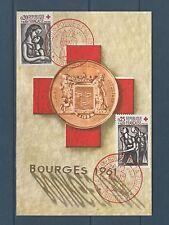 carte   1er jour  paire croix rouge  Bourges     1961