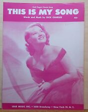 This Is My Song - 1951 sheet music - Patti Page photo cover, her theme song