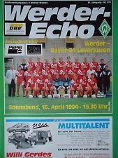 Programm 1993/94 SV Werder Bremen - Bayer Leverkusen