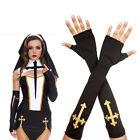 Black Gothic Punk Wrist Warmer Fingerless Gloves w/ Gold Cross Bad Nun Costume