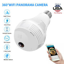 1080P HD Smart WiFi 360° Panoramic Fisheye Hidden Bulb Light Spy Camera Lamp