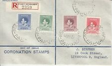 Papua stamps, Registered ' Coronation' First Day Cover to Liverpool, England.
