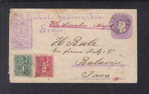 Chile Stationery Cover uprated 1893 via Lisbon Naples to Batavia Java
