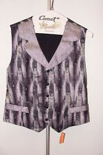 Silver & Black Silk Button up Vest with Rhinestones **prom formal costume