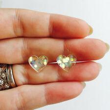 Unicorn Orecchini a forma di polvere - 925 Argento Sterling Cuore A Perno Reale Glitter Iridescente