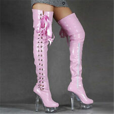 Party Pumps Women Patent Leather Over Knee Boots Thigh High Heel Platform Boots