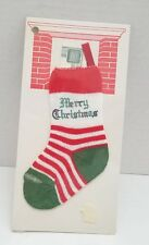"Merry Christmas Stocking Money Holder Vintage Knit Stretch NOS 5 1/2"""
