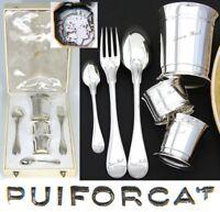 PUIFORCAT French Sterling Silver 6pc Christening Set: Tumbler, Napkin Ring+, Box