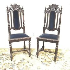 Pair of 19th Century French Gothic Hunting Chair W/ Lion Crest